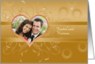 Wedding Announcement Photo Card on golden background card