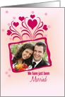 Wedding Announcement Photo Card on light pink with hearts card