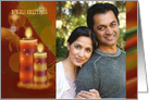 Photo Diwali Greetings with decorative colorful candles card