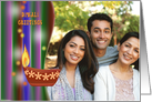 Photo Diwali Greetings with decorative traditional oil lamp card