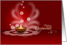 Diwali Greetings - decorative oil lamp on maroon backgroud card