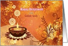 Custom Diwali Greetings - brown decorative lamp on golden deign card