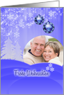 Custom German Christmas card with snow fall and ornaments on blue card