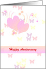 Wedding Anniversary Wishes - pink hearts on white butterfly design card