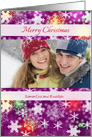 Custom Photo Christmas greetings - Snowflakes on Purple card