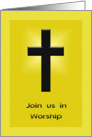 Church Invitation - Cross on golden background card