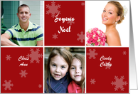 French Christmas Photo Card in red and white with snowflakes card