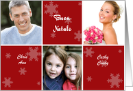Italian Christmas Photo Card in red and white with snowflakes card