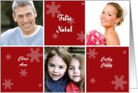Portuguese Christmas Photo Card in red and white with snowflakes card