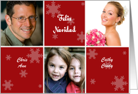 Spanish Christmas Photo Card in red and white with snowflakes card