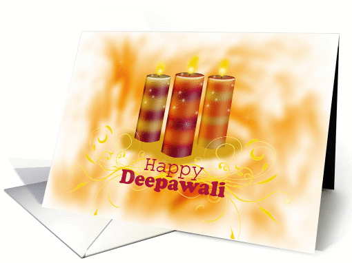 Diwali Greetings with Three Colorful Candles on golden orange card