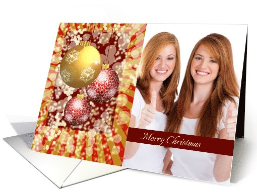 Photo Merry Christmas Greetings with Ornamental Golden,Red balls card