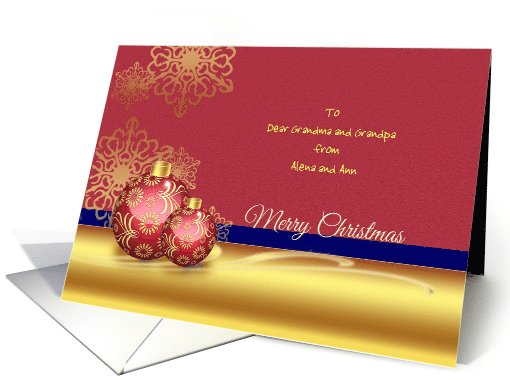 Merry Christmas Greetings - Ornamental Red Golde Balls &... (1105960)