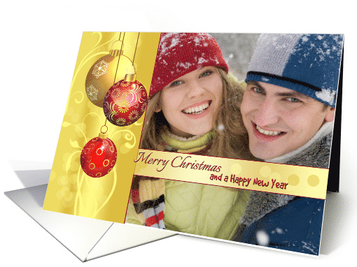 Photo Christmas Greetings - Ornamental Golden Red balls card (1106722)