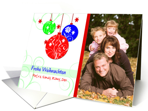 German Custom Photo Christmas greetings-ornaments on white card