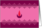 Diwali Greetings - Lamp - Pink and magenta card