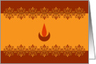 Diwali Greetings - Lamp - Orange card