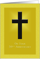 50th anniversary of religious life - Cross on golden background card