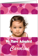 Girl adoption announcement custom card in pink and magenta card
