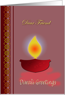Diwali Wishes For Friend - Earthen Lamp card