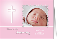 Pink Christening invitation for baby girl custom photo card