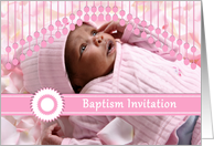 Baptism invitation for baby girl, pink custom photo card