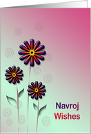 Navroj Wishes with colorful flowers card