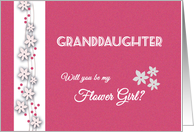 Pink and white Granddaughter Will you be my flower girl card