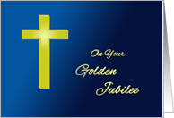 50 Years of religious life - Golden cross on blue card