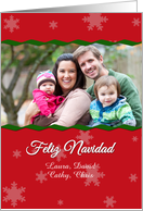 Spanish Christmas card with custom photo and snowflakes card