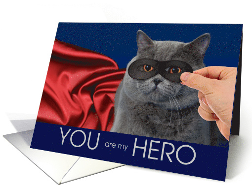 Gray Cat with a Mask and Red Cape Hero Thank You card (1526116)