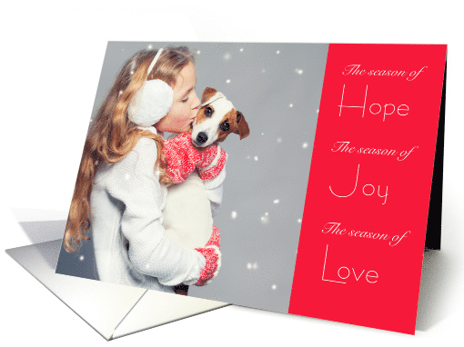 Holiday Hope Joy and Love Jack Russell Dog and Little Girl card