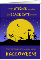 Halloween Black Cats in a Roof Purple and Yellow card