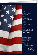 Veterans Day Gratitude American Flag Sentimental card