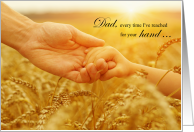 for Dad Father's Day Holding Hands Wheat Field card