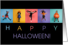 Colorful Halloween Kids in Costumes card