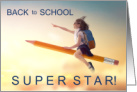 Back to School Super Star Girl Flying card
