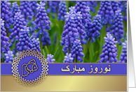 Nowruz Mubarak. Persian New Year Card in Farsi. Spring Hyacinths card