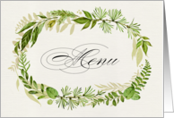 Wedding dinner menu. Watercolor Leaf Wreath design card