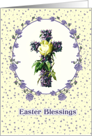 Easter Blessings. Vintage Design with Easter Cross card