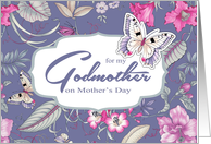 Happy Mother's Day for Godmother. Butterflies and Flowers card