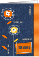 Happy Father's Day for Grandson. Denim design card