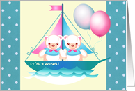 Twin Boys Adoption Announcement. Teddy Bears card