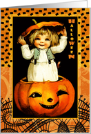Halloween Card with Vintage kid and Jack o'Lantern card
