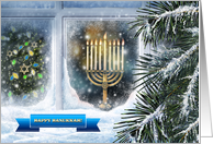 Happy Hanukkah. Snow Scene with Menorah card