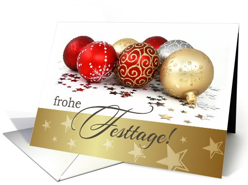 Frohe Festtage. German Christmas Card with Christmas Ornaments card