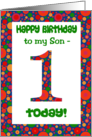 1st Birthday Card for a Son, Bright and Bubbly card