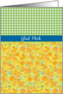 Swedish Greeting Easter Card, Daffodils and Check Gingham card