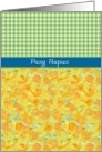 Welsh Greeting Easter Card, Daffodils and Check Gingham card