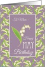 Lilies May Birthday Card for Mom, Mauve Background card